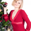 Happy woman with Christmas presents — Stockfoto
