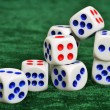 Dice on a baize — Stock Photo