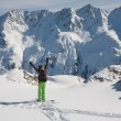Skier mountains in the background — Stock Photo #6991888