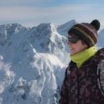 Skier in a winter resort — Stock Photo