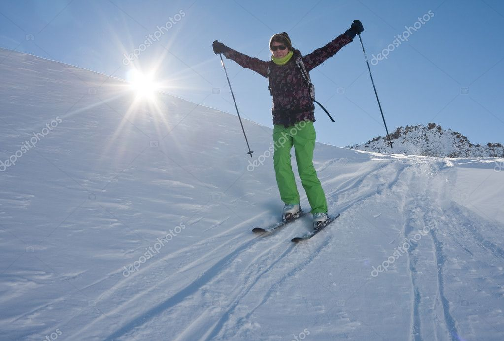 On the slopes of the ski resort of Solden. Austria — Stock Photo #7050444