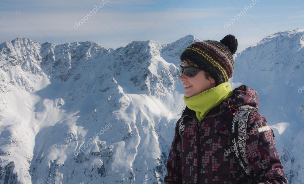 Skier in a winter resort  Stock Photo #7050625