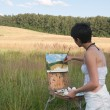 Painter-girl en plein air — Stock Photo