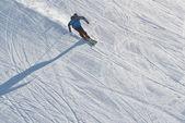 The man is skiing at a ski resort — Stock Photo