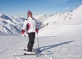 Skier mountains in the background — Stock Photo