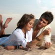 Guy and his girlfriend — Stock Photo