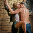 Stockfoto: Sexy loving couple in dark