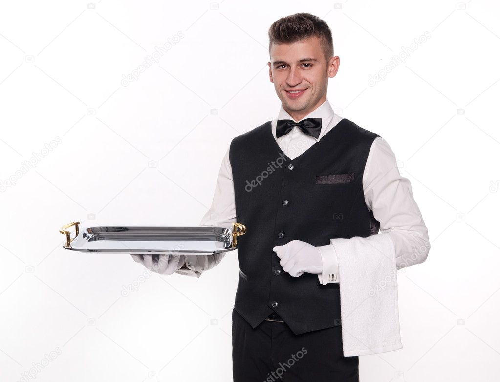 Young person in a suit holding an empty tray isolated on white background — Stock Photo #7457439