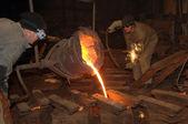Molten steel pouring — Stockfoto
