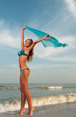 Beautiful woman in a bathing suit — Foto Stock