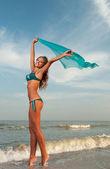 Krásná žena v plavkách — Stock fotografie