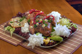 Roasted duck on the table — Стоковое фото