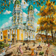Oil painting old church - Stock Photo