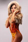 Woman in a fur hat — Stock fotografie