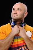 Man with earphones — Stock fotografie