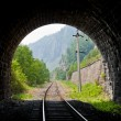 Stock Photo: View from the old railroad tunnel