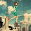 Art collage with woman in clouds - Stock Photo