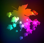 Autumn leaves of a maple. A neon background — Stock Vector