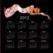 Calendar 2012 in style of a art. The nude girl. — Stock Vector