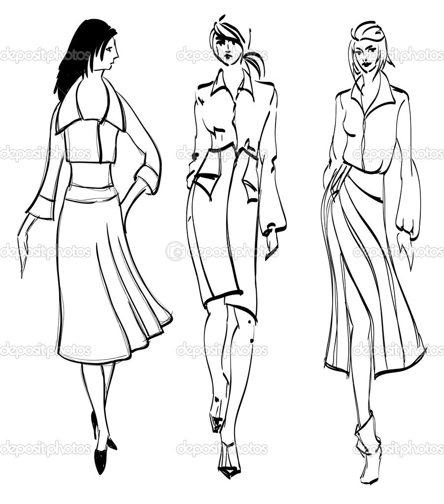 Sketch fashion girl stock vector ice storm 7927785 for Fashion girl coloring pages