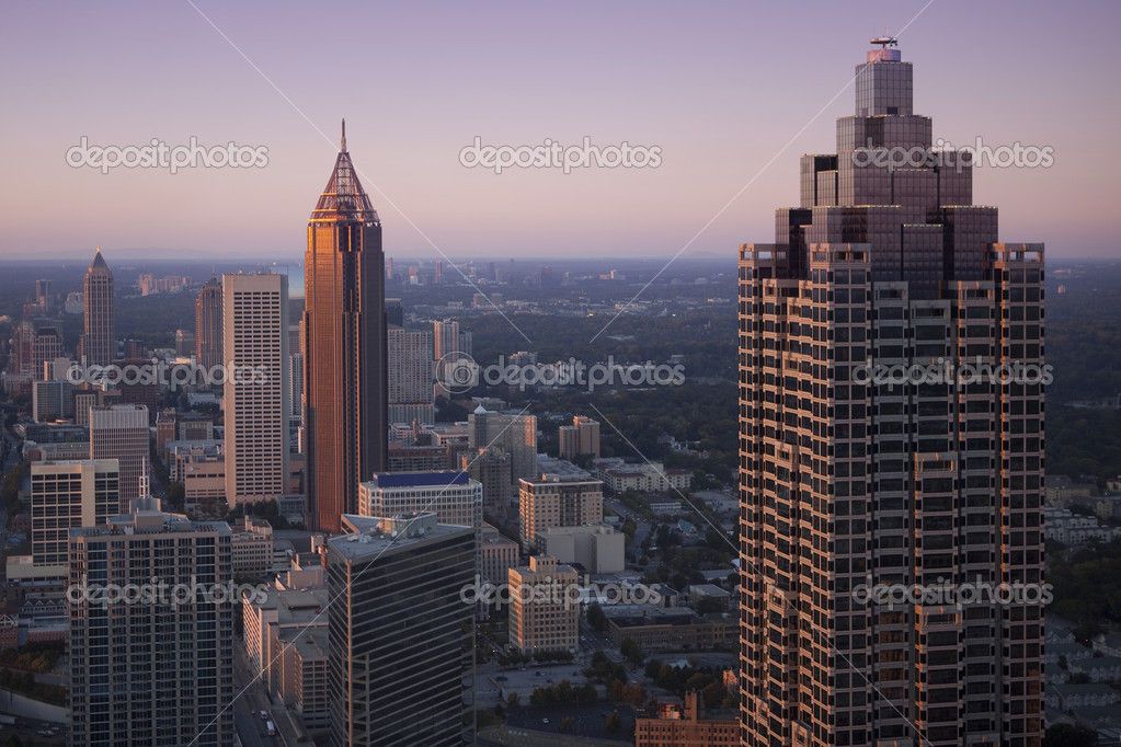 Downtown Atlanta, Georgia in sunset. — Lizenzfreies Foto #7805319