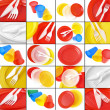 Disposable tableware collage — Stock Photo