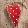 Old wooden christmas decoration heart — Foto de Stock