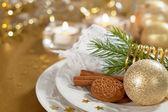 Kerst tabel instelling — Stockfoto