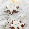 Gingerbread and christmas decorations — Stock Photo