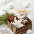 Gingerbread and christmas decorations — Foto Stock