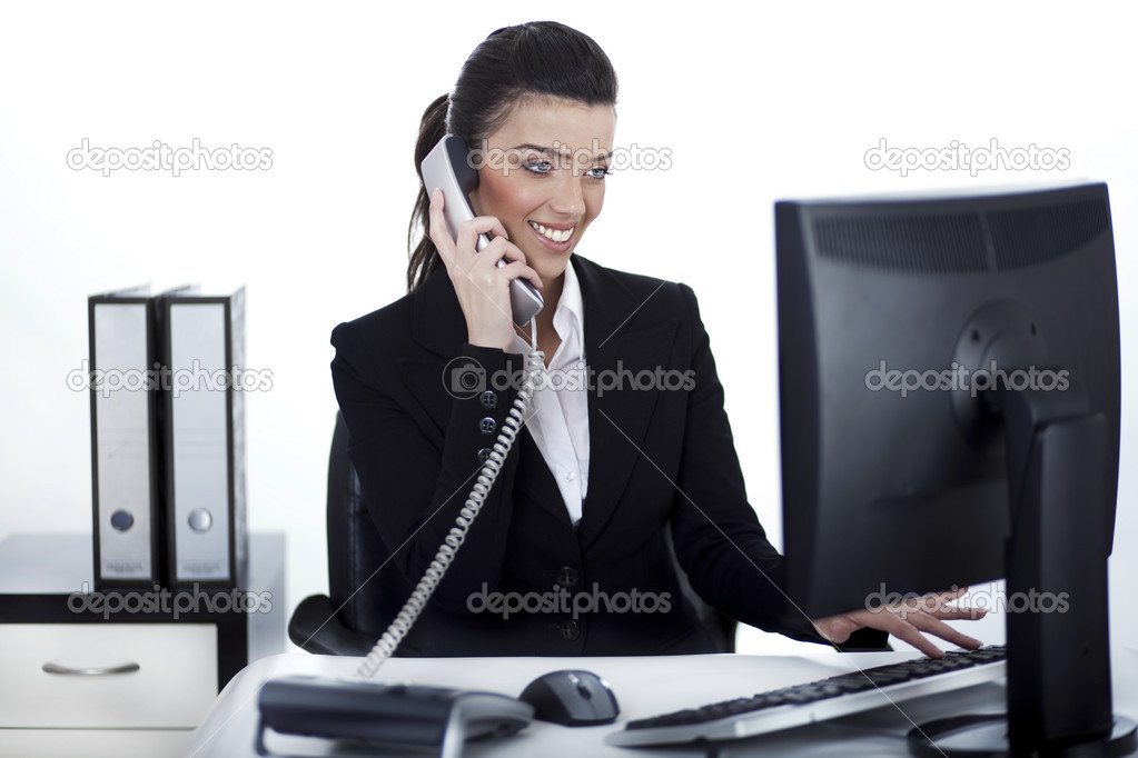 Business woman busy at office over white background  Stock Photo #6758182