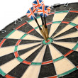 Three Darts Arrows Poked Right In The Center — Stock Photo
