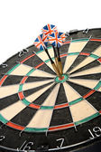 Three Darts Arrows Poked Right In The Center — Stock Photo