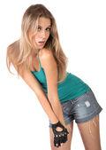 La bella ragazza in pantaloncini isolato — Foto Stock