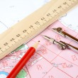 Stock Photo: Pencil compasses and ruler on topographic map