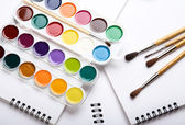 Water colour paints brush albums for drawing — Stock Photo