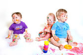 Babies painting — Stock Photo