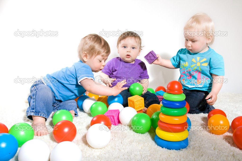 babies play with toys stock photo hohotun4ik 7695110. Black Bedroom Furniture Sets. Home Design Ideas