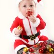Little Santa Claus baby — Stock Photo