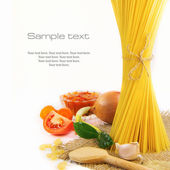 Pasta and food ingredients — Stock Photo
