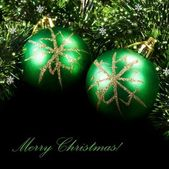 Green Christmas balls — Photo