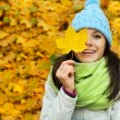 Happy autumn girl — Stok fotoğraf