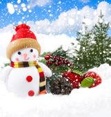 Šťastný sněhulák — Stock fotografie