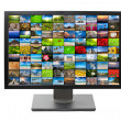 Stock Photo: Modern LCD HDTV screen isolated