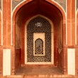 Arch with carved marble window. Mughal style. Humayun's tomb, De — Stock Photo #7341359
