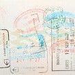 Passport page with immigration stamps - Stock Photo