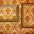 Stock Photo: Vintage gold plated picture frames on retro wallpaper