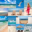 Collage about beach vacations — Stok fotoğraf