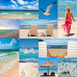 Collage about beach vacations - Stock Photo