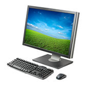 Computer workstation isolated — Stockfoto